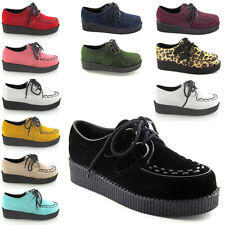 NEW LADIES PLATFORM LACE UP WOMENS FLATS CREEPERS GOTH PUNK SHOES SIZE 3 - 8