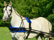 *HORSE* SIZE Solid BLACK Biothane HARNESS with BLUE PAD Driving Horse Harness