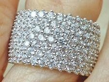 """Eternity Band Ring-Rhodium Pltd-7 Rows of SHINY CZ's-7.3g-1/2"""" W-Size Selectable"""
