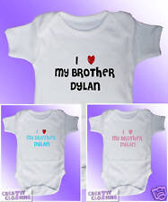Short Sleeved Baby Grow Vest Bodysuit - I Love my Brother PERSONALISED with name