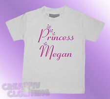 Baby Toddler T-shirt Girls - PERSONALISED princess and name with DIAMANTES
