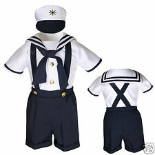 Baby Boy & Toddler  Formal Party Sailor Shorts Suit Outfits Navy sz: S M L XL-4T