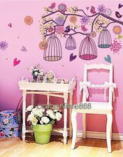 Huge Colorful Birdcage Tree Flower Wall Stickers Home Art Decal Wallpaper Decor
