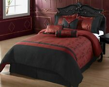 7pcs Comforter set Oyuki, Burgundy, Black Asian Letters Full, Queen, King CK Bed