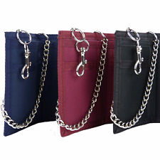 ★ Mens Boys QUALITY Velcro Wallet Canvas w SECURITY CHAIN & Clip BLACK RED BLUE★