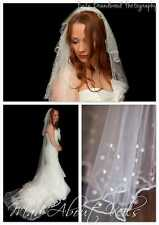 "3 Tier Chapel Length Veil 96"" Long  With Pearls Bridal Wedding Ivory  White"