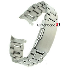 Stainless Steel Solid Links Watch Band Strap Bracelet Curved End 18 20 22 mm