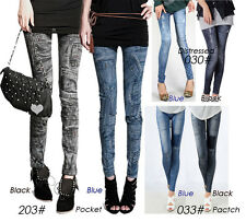 Womens Retro Denim Jeans-Look Jeggings Stretch Skinny Footless Leggings Series