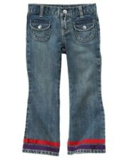 GYMBOREE WINTER PENGUIN DENIM RED RIBBON JEANS PANTS 7 slim 8 NWT