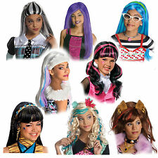 Child Monster High Frankie Draculaura Clawdeen Lagoona Cleo Hair Costume Wig