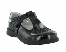 New Girls Black Patent T-Bar Velcro Fastening Party Dress School Shoes UK 6-2