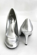 Classic Simple Stylish Casual Smooth Metallic Silver Rounded High Heels 4inches