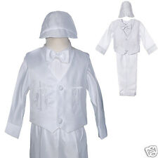 Baby Boy Christening Baptism Formal LONG Vest Outfit Suit gown  size:0-24M WHITE