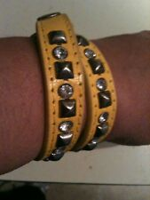UNIQUE DOUBLE WRAP LEATHER CZ & STUD WRIST WRAP/CUFF - CHOICE OF YELLOW OR WHITE