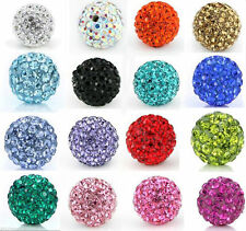 Stylish 10Pcs Shiny Ball Round Crystal Rhinestone Jewelry Spacer Beads