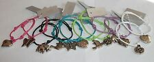 Cord Bracelet 2992 / Heart / Butterfly / Dove / Elephant Silver Coloured Charms