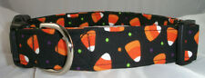 Halloween Candy Corn with Dots dog collar, martingale with leash set option