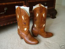 VINTAGE ACME DINGO BROWN LEATHER INLAY COWGIRL WOMENS COWBOY BOOTS 5.5 6.5 M