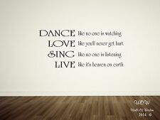 Beautiful Quotations Dance Love Sing Live Lyrics Wall Sticker / Wall Art