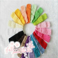 10Pcs 1.5 Inch Crochet Stretch Baby Infant Girls Headbands 30 Colors
