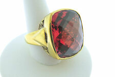 Sajen Bronze Ring by Marianna and Richard Jacobs Square Shape Red Quartz Triplet