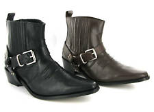 NEW MENS LEATHER COWBOY WESTERN ANKLE BOOTS SIZE 6-12