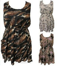 NEW LADIES PLUS SIZE FEATHER PAISLEY PRINT STUD DETAIL DRAPE SKATER DRESS 16-26