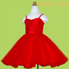 USMD36 Red Christmas Pageant Baby Kids Girls Dress 6-12Months 1-10Yrs