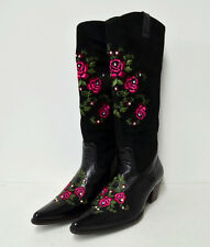 Women's Mid Calf Leather Slip On Rose Embroidered Design with Rhinestone Boots