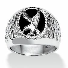 Men's Onyx Eagle Nugget Ring in Sterling Silver