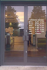 CUSTOM MADE OPENING TIMES IN QUALITY SELF ADHESIVE SIGN VINYL (280 MM X 380MM)