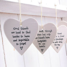 New East of India - Porcelain Friendship Hanging Heart Decoration - 4 Phrases