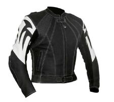 Mens MX ATV Racing Motorcycle Biker Riding Black Armor Cowhide Leather Jacket