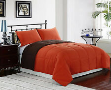 3pc Reversible Down Alternative Comforter Set Orange/Brown Twin, Full/Queen King