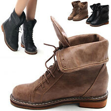 chic round toe lace up increase height hidden wedge insole combat ankle boots