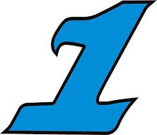 "x1 3"" Digit (MORE in EBAY SHOP) Race Numbers vinyl stickers Style 2 Blue/Black"