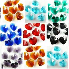 36 Charms Heart Glass Crystal Earring&Bracelet&Necklace Finding Pendant Bead14mm