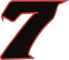 """x1 8"""" Digit  (more in ebay shop) Race Numbers vinyl stickers Style 2 Black/Red"""