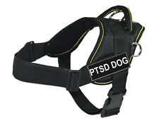 Working Dog Harness Yellow Trim with PTSD Dog Velcro Patch Label Tag