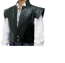 Mens Black Leather LARP Clansman Waistcoat Jacobite Cosplay Vest & Kilt Combo