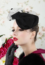 Womens Dress Vintage Fascinator Wool Pillbox  Hat Party Wedding Church Bow Veil
