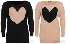 NEW LADIES PLUS SIZE LOVE HEART LONG SLEEVE KNIT JUMPER DRESS KNITTED TOP 16-26