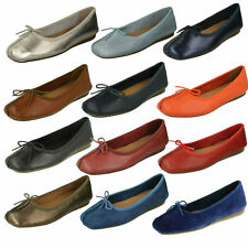 LADIES CLARKS LEATHER SLIP ON BALLERINA BOW PUMPS FLAT SHOES FRECKLE ICE £34.99
