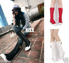 New Womens Girl Punk Rock Gothic Canvas Boot Shoe Sneaker Knee High Zip Lace Up