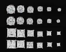 STERLING SILVER ROUND OR SQUARE CLEAR CUBIC ZIRCONIA CZ STUD EARRINGS FREE POST