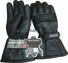 MEN WINTER THINSULATE LEATHER GLOVES BLACK XXS/XS/S/M/L/XL/XXL THERMAL LINING