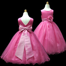 USMD59A H.Pink Full Length Pageant Wedding Gown Flower Girl Dress 1 to 14 Years