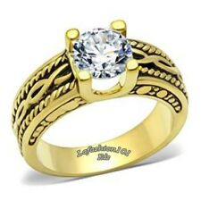Womens Gold IP Antique look Wedding/Engagement Ring SIZE 5,6,7,8,9,10