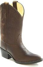 Kid's Old West Brown Leather Fancy Stitch Western Style Cowboy/Cowgirl Boots