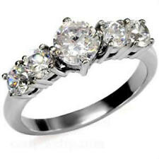 Stainless Steel CZ Round Engagement Ring  FSH